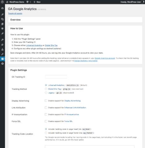 Screenshot of GA Google Analytics WordPress plugin.