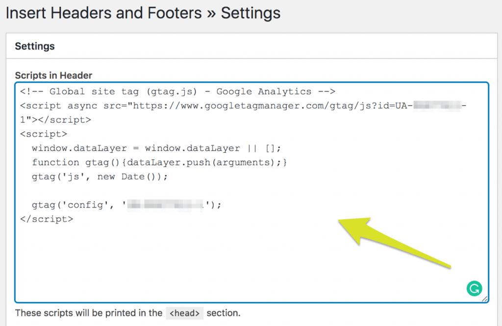 Screenshot of Google Analytics tracking code in Insert Headers and Footers WordPress plugin.