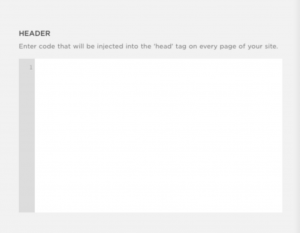 Screenshot of code injection page on Squarespace.
