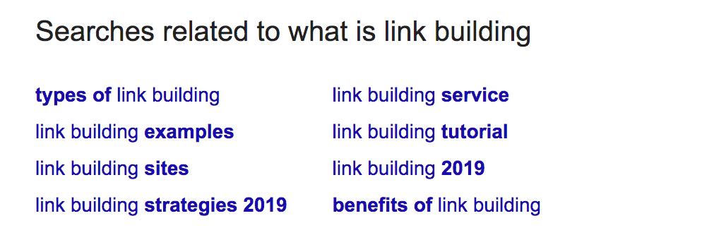 Screenshot of link building query in Google.